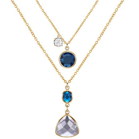 Double Layer Pendant Long Necklace Set, Gold Snake Chain CZ Crystal Teardrop Pendant, Gold and Blue: Clothing