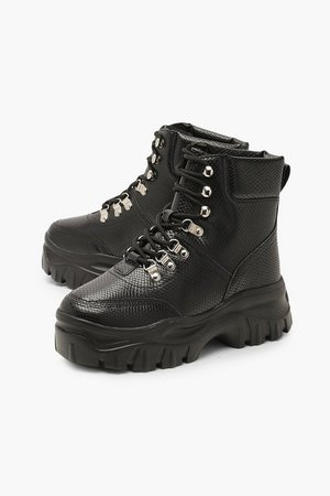 Wide Fit Snake Chunky Hiker Boots | Boohoo