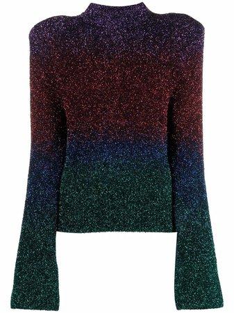 The Attico Colour Block Metallic Knit Jumper - Farfetch
