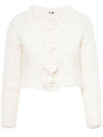 Miu Miu Textured Cropped Cardigan MMF2421WSF White | Farfetch