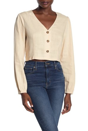 Lush | Cropped Button Front Blouse | Nordstrom Rack