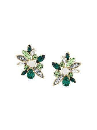 Shourouk Crystal Earrings DAG021C Green | Farfetch