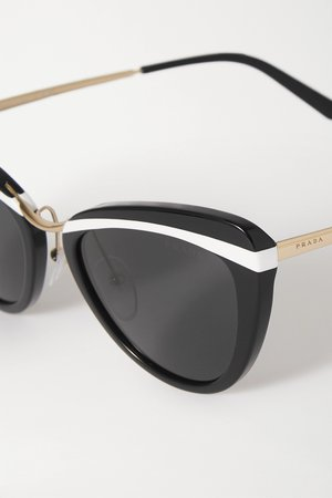 Black Cinema Evolution cat-eye acetate and gold-tone sunglasses   Prada Eyewear   NET-A-PORTER