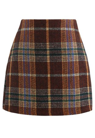 Classic Plaid Wool-Blend Mini Skirt in Caramel - Retro, Indie and Unique Fashion