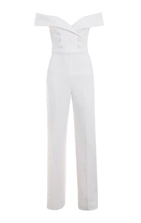 Clothing : Jumpsuits : 'Rissa' White Crepe Bardot Jumpsuit