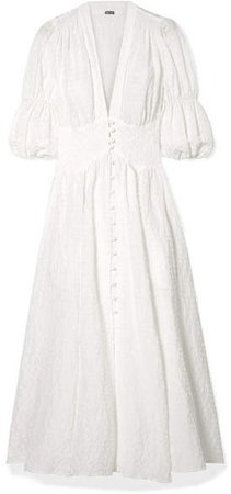 Willow Seersucker Maxi Dress - White