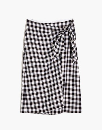 Sarong Faux-Wrap Midi Skirt in Gingham Check
