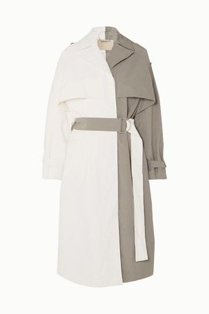 Givenchy - Two-toned linen and cotton-blend trench coat