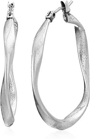 Amazon.com: Lucky Brand Twist Hoop Earrings, Silver, One Size: Jewelry