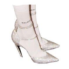 silver heels balenciaga socks