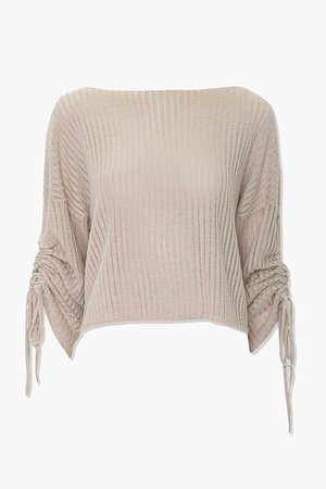 Shadow-Striped Drawstring Sweater | Forever 21