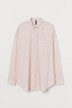 Oversized Cotton Shirt - Pink