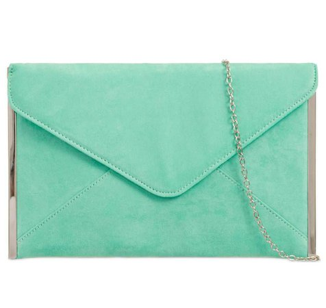 Suede Mint-Green Clutch