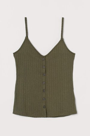 Ribbed Camisole Top - Green