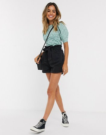 New Look paperbag tie waist denim shorts in black   ASOS