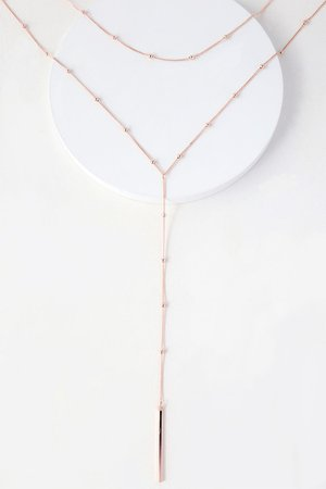 Chic Layered Necklace - Rose Gold Necklace - Bar Necklace