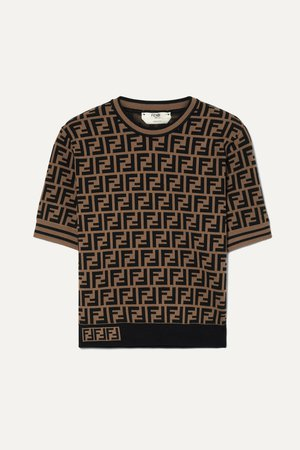 Brown Jacquard-knit sweater | Fendi | NET-A-PORTER