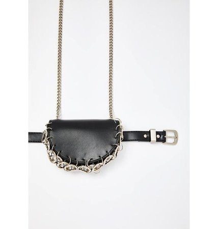 Faux Leather Belt Bag Chain O Ring Accent | Dolls Kill