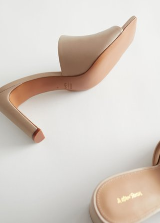 Heeled Leather Square Toe Sandals - Beige - Heeled sandals - & Other Stories