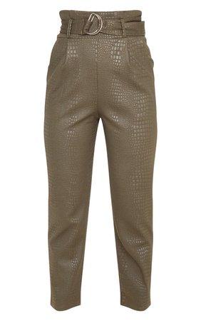 Petite Khaki Croc D Ring Belted Skinny Trouser   PrettyLittleThing