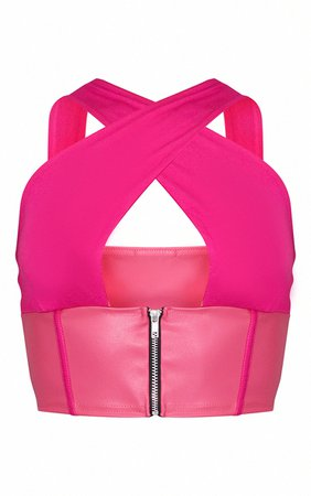Candy Pink PU Underbust Strap Detail Crop Top   PrettyLittleThing USA