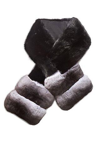 The Fur Salon, Chinchilla Fur-Trim Mink Fur Pull-Through Scarf