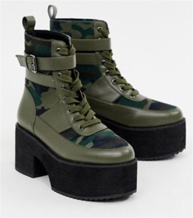 green camo black strap lace up boot