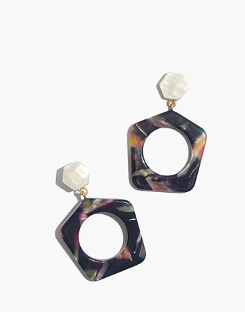Acetate Geometric Drop Earrings multi