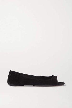 Suede Ballet Flats - Black