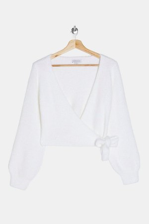 Ivory Fluffy Ballet Wrap Knitted Top   Topshop