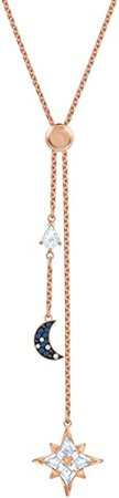 SWAROVSKI Women's Symbolic Star Moon Y Necklace, Multi-Colored Crystal, Rose-Gold Tone Plated: Jewelry