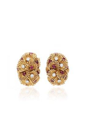 Simon Teakle Ruby Diamond And Gold Earrings