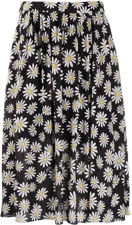 Daisy-Print Midi Skirt