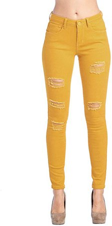 ICONICC Women's Butt Lifting Ripped Skinny Jeans Mustard Yellow (JP0048T_Mustard_7) at Amazon Women's Jeans store