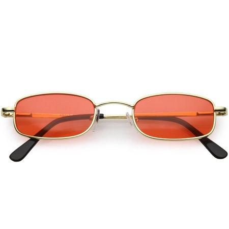 Retro 1990's Small Rectangle Color Tone Metal Sunglasses - zeroUV