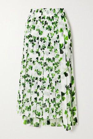 Asymmetric Pleated Printed Chiffon Midi Skirt - White