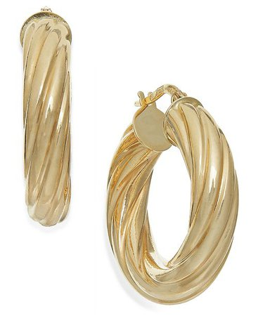 Italian Gold Twist Hoop Earrings in 14k Gold, 1 inch & Reviews - Earrings - Jewelry & Watches - Macy's