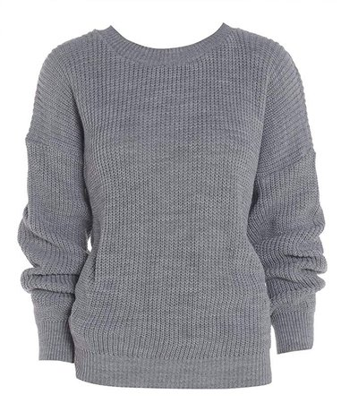 Amazon ZET New Ladies Women's Grey Chunky Knitted Baggy Jumper Sweater UK Plus Size 8-18