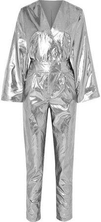 Stand Studio - Pernille Teisbaek Amiya Metallic Faux Leather Jumpsuit - Silver