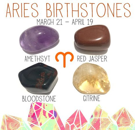 Aries March 21 April 19 Birthstones crystal kit 4 tumbled