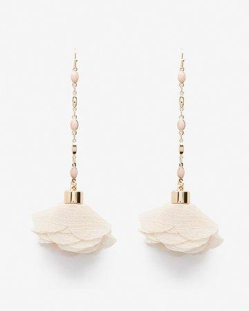 Chiffon Flower Drop Earrings | Express