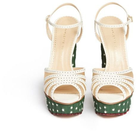 Charlotte Olympia 'Cactus' Crystal Corrugated Platform Suede Sandals in Multicolor