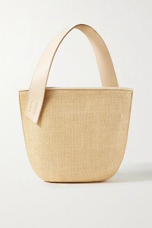 Beige Panier Saigon leather-trimmed woven raffia shoulder bag | TL-180 | NET-A-PORTER