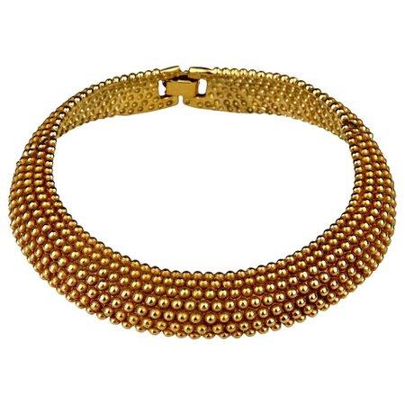 Vintage YVES SAINT LAURENT Ysl Gilt Ball Choker Necklace For Sale at 1stdibs