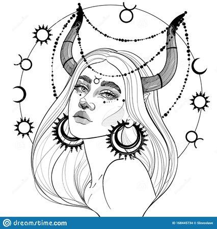 Horned Girl Taurusblack And White Taurus Girl With Horns Stock Vector - Illustration of horned, drawing: 168445734