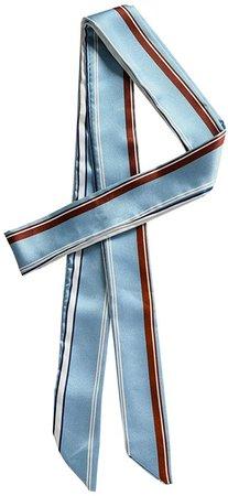 Allegra K Stripe Ribbon Skinny Neck Scarves Long Narrow Neckerchief Hairband for Women Wrist Wear Handbag Handle Wrap Sky Blue 1 Pcs at Amazon Women's Clothing store