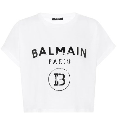 Cropped Logo Cotton T-Shirt | Balmain - Mytheresa