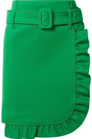 Belted Ruffled Tech-jersey Mini Skirt - Green