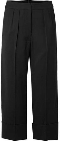 Cropped Wool And Silk-blend Wide-leg Pants - Black