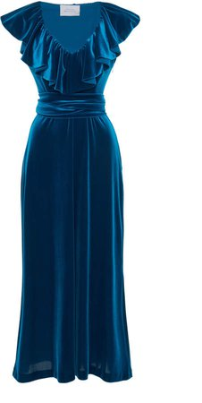 Luisa Beccaria Ruffle-Trim Velvet Dress